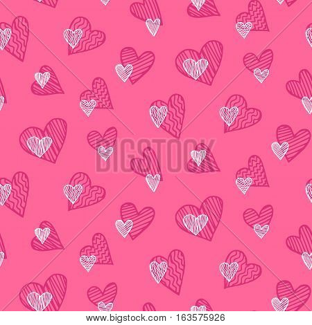 Vector romantic seamless pattern. White and pink colors, hand drawn heart doodles. Good for wallpaper, Valentines Day card, wedding invitation, scrapbook, wrapping paper, fashion textile