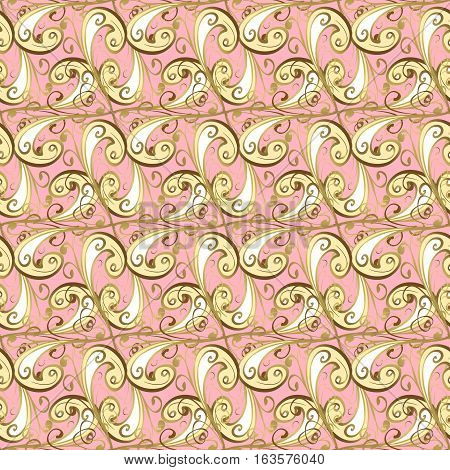 Seamless pattern. Decorative pattern in beautiful pink and golden colors with gradients. Raster background.