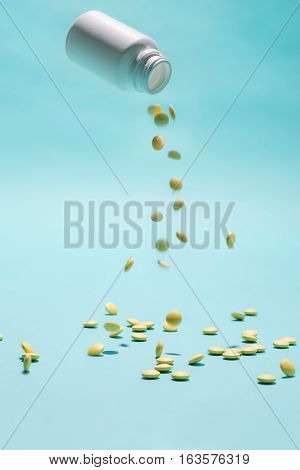 Pill Medicine & Capsules Medicine Falling Down.