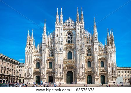 Daytime View Of Famous Milan Cathedral Duomo
