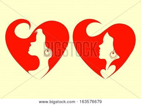 A gentle female face with a shackle, the portrait on a red background heart