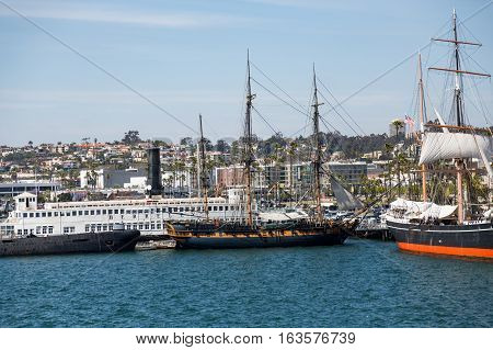 Three Masted Sailboats in San Diego Harbor