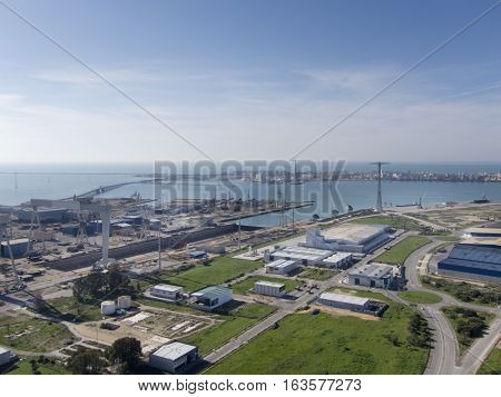 View of the bay of cadiz with its shipyard in front