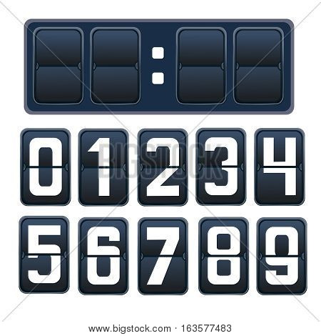 Vector illustration of a countdown timer, a mechanical scoreboard blank and various numerals in white