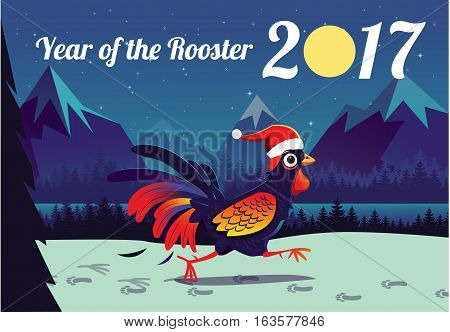 Illustration New Year China symbol rooster at midnight. Moon, mountains, landscape vector illustration.