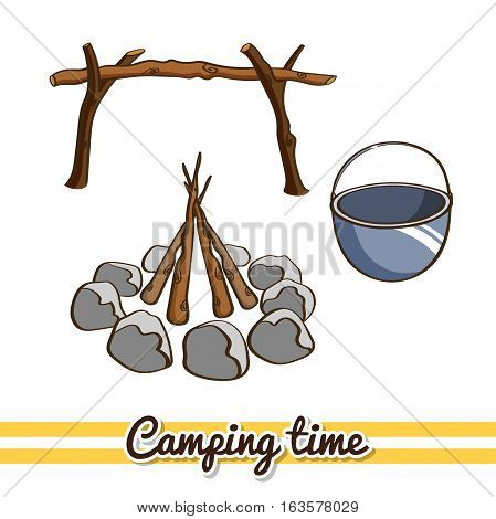 Hand drawn camping elements isolated on white background. One image of series Camping time. Vector illustration