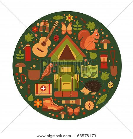 Vector cartoon eco tourism icons set tent, backpack, bird, squirrel, hedgehog. Flat illustration of summer eco camping elements. Ecological travelling background foryour designs.
