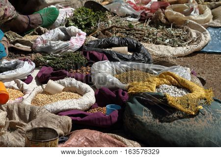 Spices and herbs on the market of Debark in Ethiopia