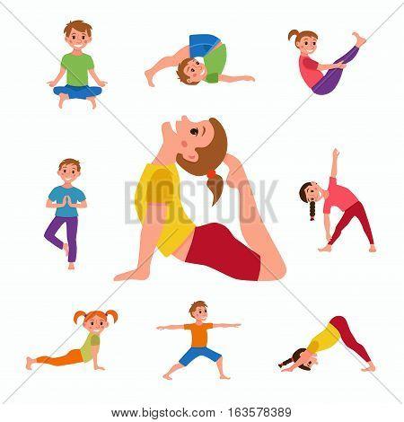 Yoga Kids Poses Set Vector Photo Free Trial Bigstock