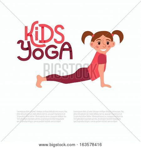 Yoga kids poses. Cute cartoon gymnastics for children and healthy lifestyle sport illustration. Vector happy kids fitness exercise and yoga asana design with cute logo