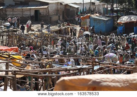 People at the African market of Debark in Ethiopia, 14. November 2012
