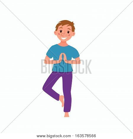 Vector concept happy kids fitness exercise and yoga asana for fitness design. Cute cartoon gymnastics for children and healthy lifestyle sport illustration.