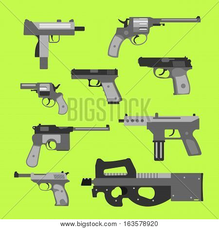 Weapons vector handguns collection. Pistols submachine guns icons. Gun illustration.