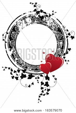 valentine vector frame with hearts butterflies and ivy