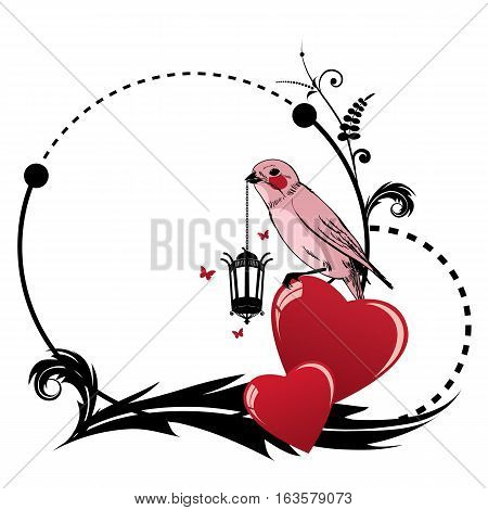 vector valentine frame with bird heart retro lamp and butterflies