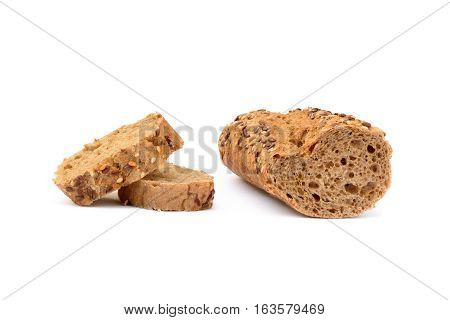 Fresh sliced baguette isolated on white background