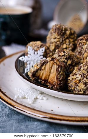Homemade triangular candy wafer crumbs. Selective focus