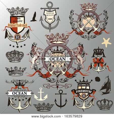 Detailed retro collection or set of vector nautical labels crowns anchors in heraldic style