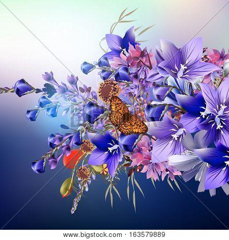Elegant realistic vector flowers. Blue bells https://creativemarket.com/mashagraphic/494562-Set-of-vintage-flourishes