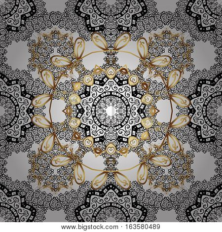 Vintage baroque floral seamless pattern in gold with white and black. Ornate vector decoration. Luxury royal and Victorian concept. Golden element on white background. Radial gradient shape.