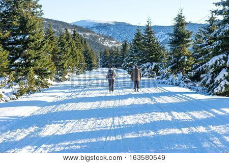 Man and woman hiking in winter landscape in the Giant mountains, Czech Republic