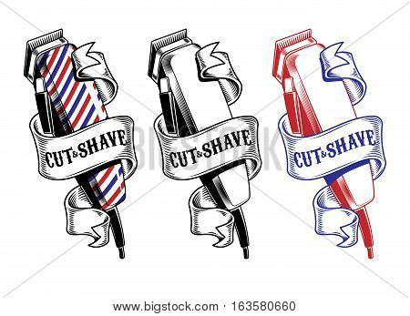 Vector collection hair clippers isolated on white. Engraving style