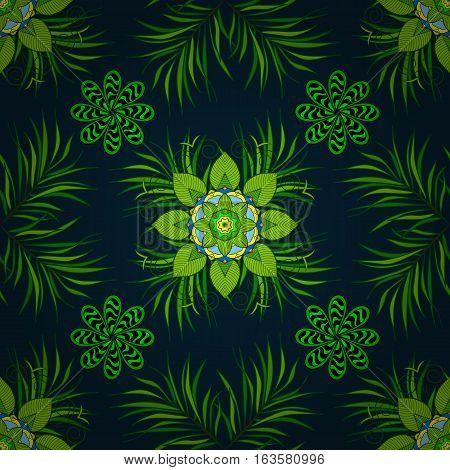 Green transparent circles in regular order - flower pattern - semaless background. Dark background. Radial gradient shape.
