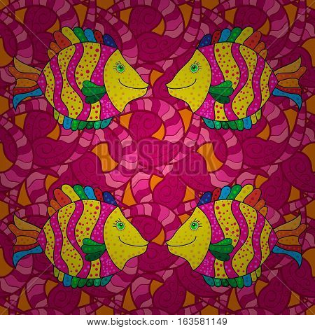 Doodles yellow fishes. Seamless background. Vector. Beige white. Pink red. Radial gradient shape.
