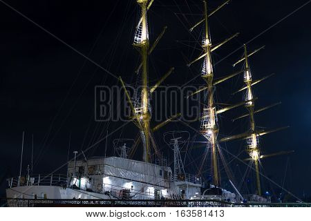 Sailing Ship at night in Sevastopol Russia