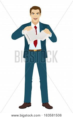 Joyful businessman tearing contract. Termination of the contract. Vector illustration.