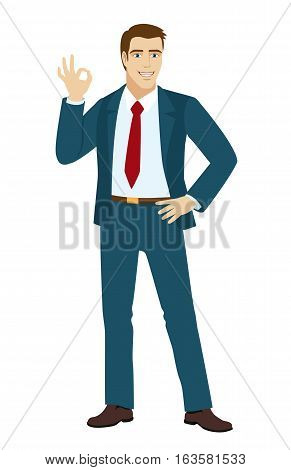 OK! Smiling businessman show a okay hand sign. Businessman with one hand on her hip. Vector illustration.