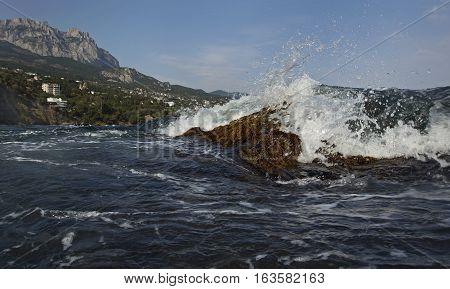 Crimea. Black Sea. Spray from a breaking wave.