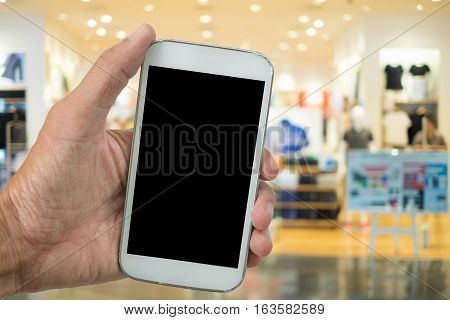 Online shopping,holding phone with shoping,holding phone with shoping