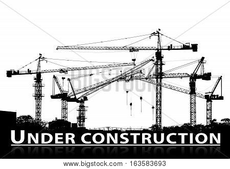 black and white silhouette of construction site and tower crane with under construction caption text below