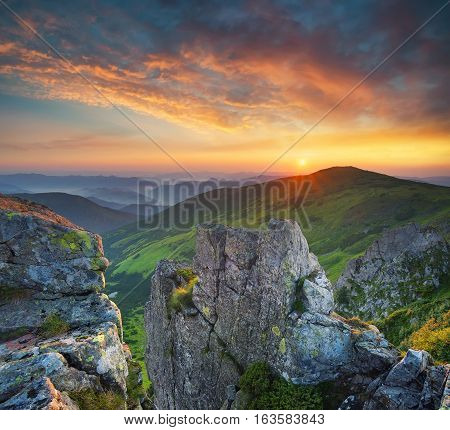 Mountain valley during sundown. Natural summer landscape