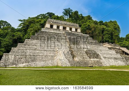 View of the Temple of Inscriptions in the ancient Mayan city of Palenque Chiapas Mexico