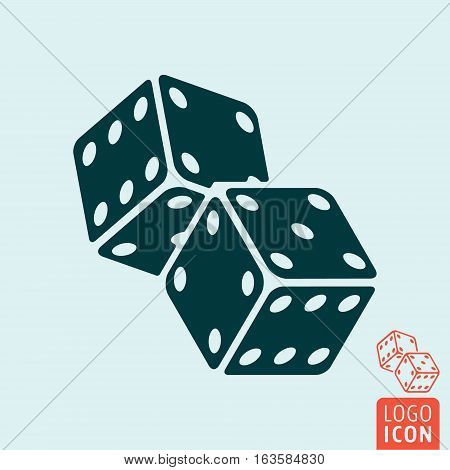 Casino dice icon. Two game dices symbol. Vector illustration