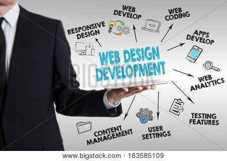 Web Design and Development concept, young man holding a tablet computer.