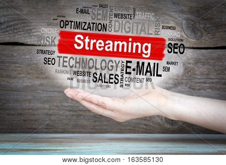Streaming concept. Word cloud in female hand.