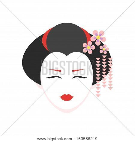 Vector flat style illustration of geisha. Icon for web. Isolated on white background.