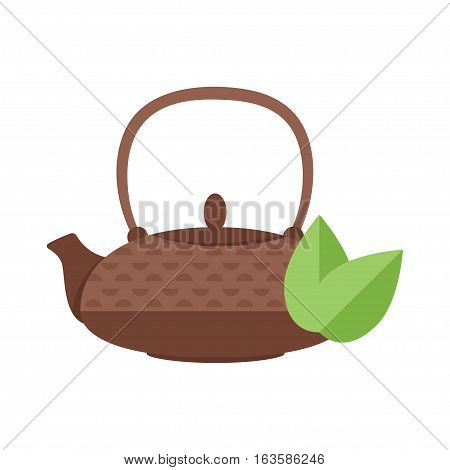 Vector flat style illustration of tea pot. Isolated on white background. Icon for web.