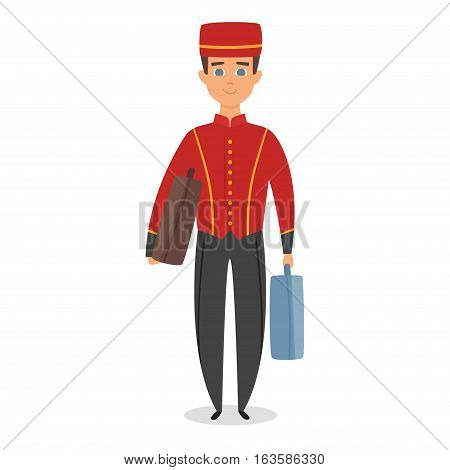 Vector cartoon style illustration of hotel bellboy at work carrying guests bags. Isolated on white background.