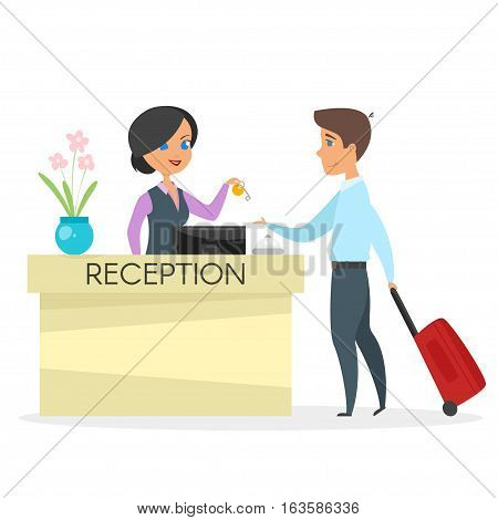 Vector cartoon style illustration of hotel reception. Beautiful woman gives a key to the guest. Isolated on white background.