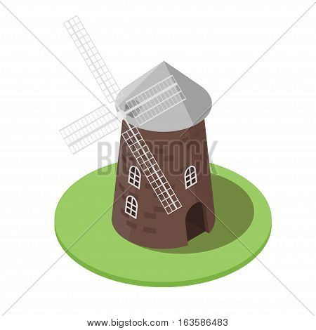 Isometric 3d vector illustration of windmill. Icon for web. Isolated on white background.