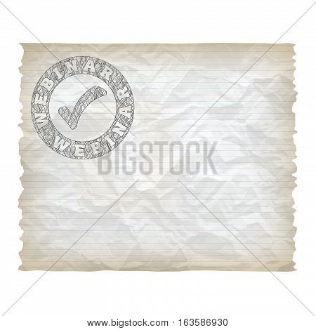 Vector crumpled lined paper and hand written webinar icon