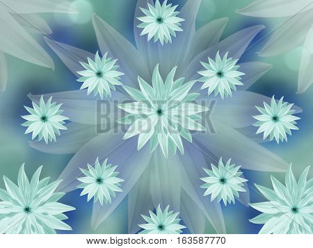 turquoise flowers on blurred turquoise-blue background. floral background. floral composition. colored wallpaper for design. Nature.