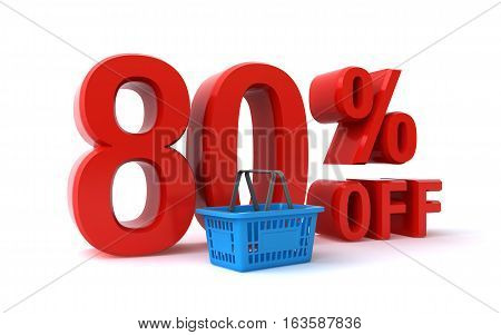 80 percent discount sign and a shopping basket (3d rendering)