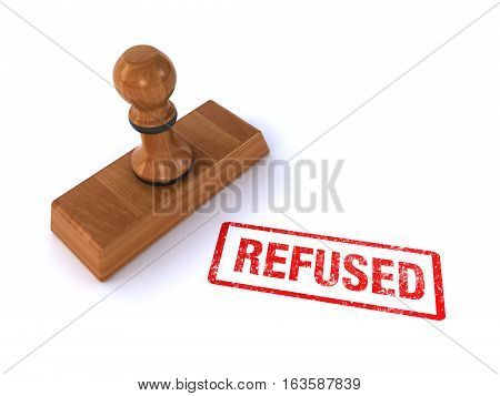 rubber stamp showing refused on the white background (3d rendering)