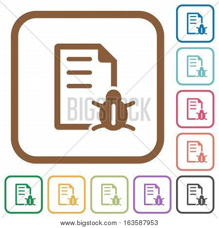 Bug report simple icons in color rounded square frames on white background