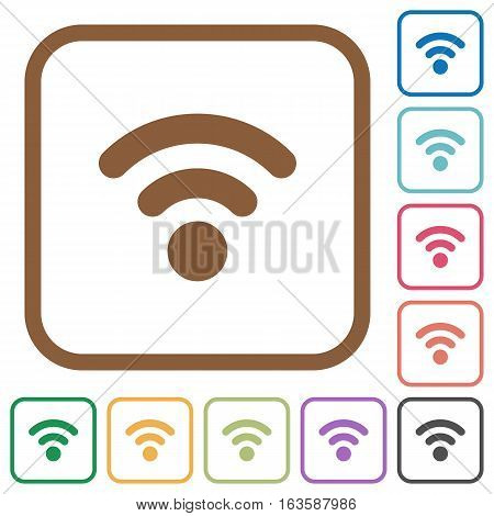Radio signal simple icons in color rounded square frames on white background